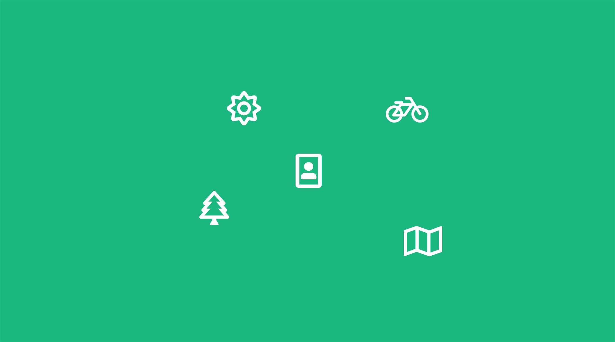 symbols showing touristic activities on green background
