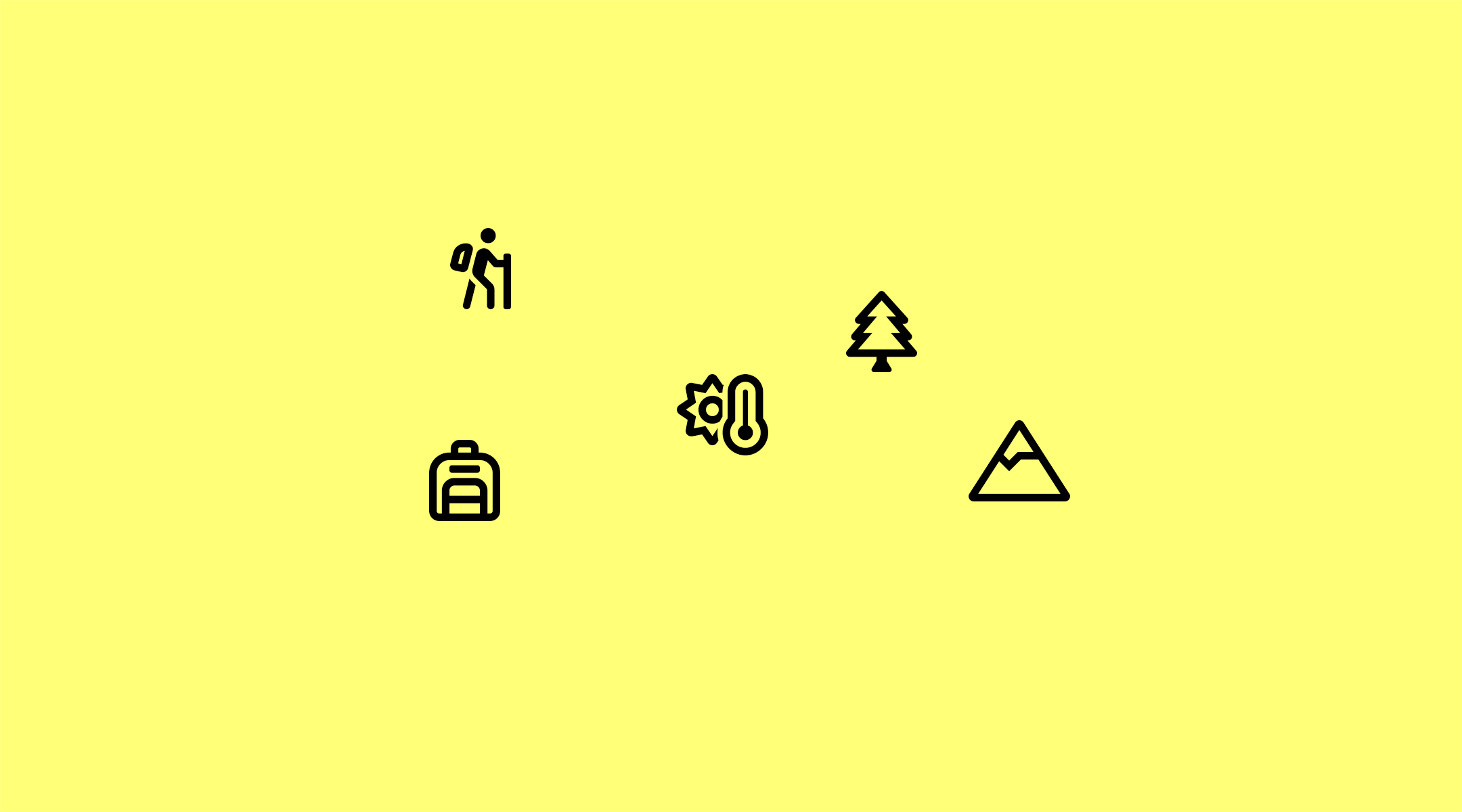 symbols showing touristic activities on yellow background