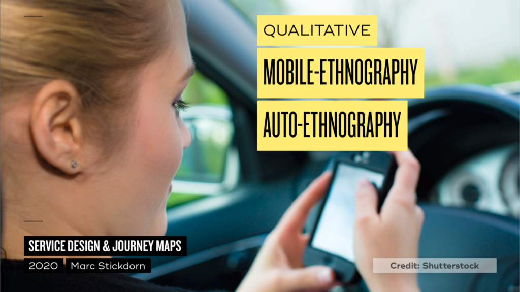 photo of a person sitting in a car with a smartphone in her hand, visualization of mobile-ethnography.