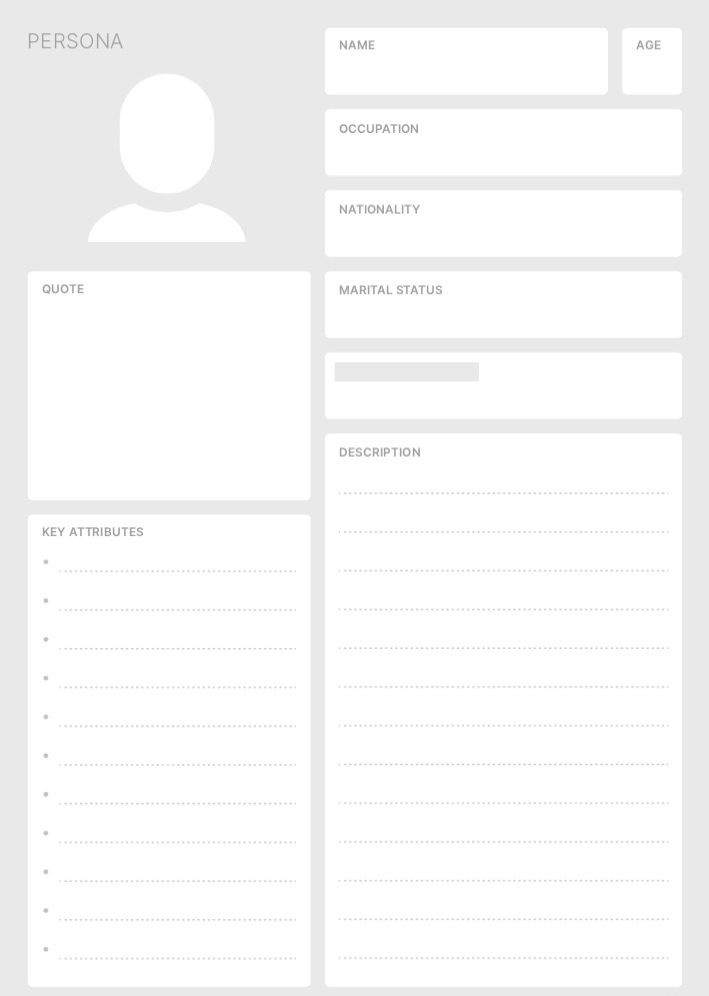 Empty template to create a persona including a name, quote, key attributes and a description.
