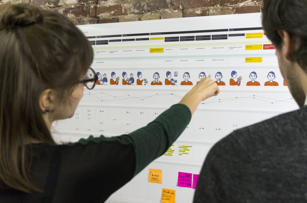 Two people discussing a visualization of a customer experience