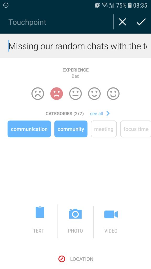 app interface showing emoticons and categories