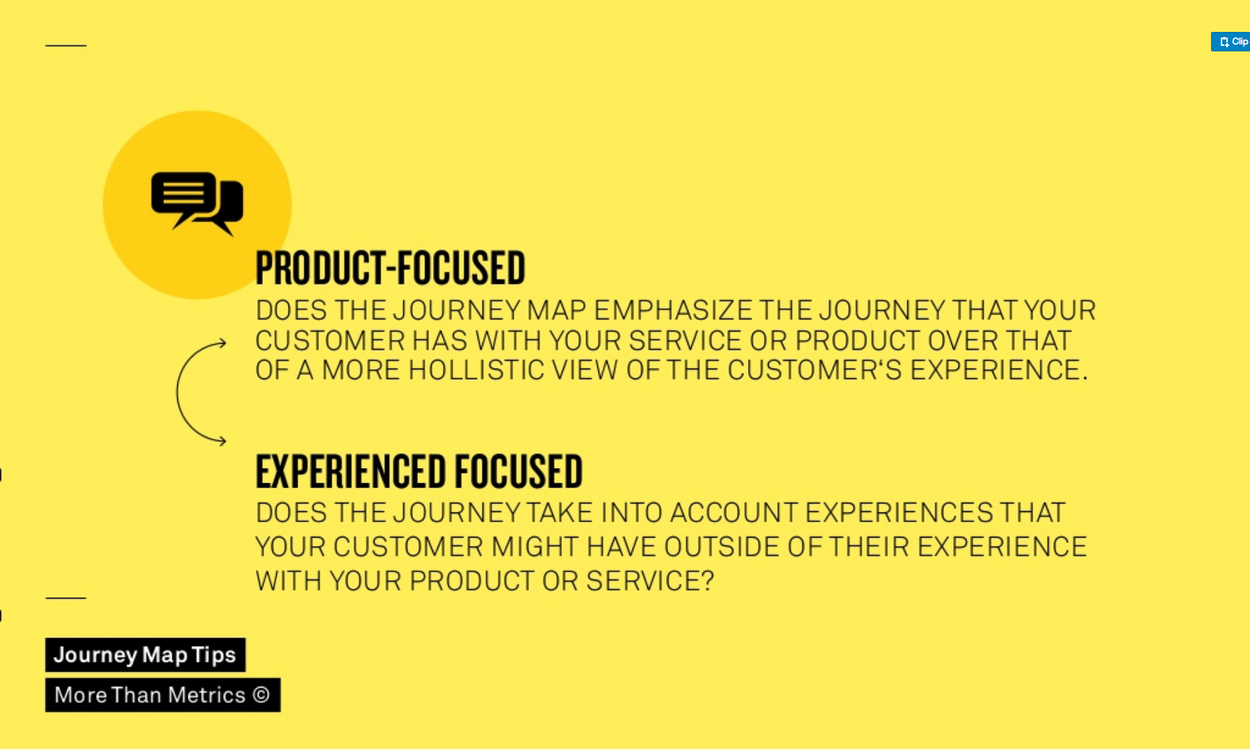 A customer journey map can focus on  a customer's interaction with your service or product or it can focus on his whole experience in general.