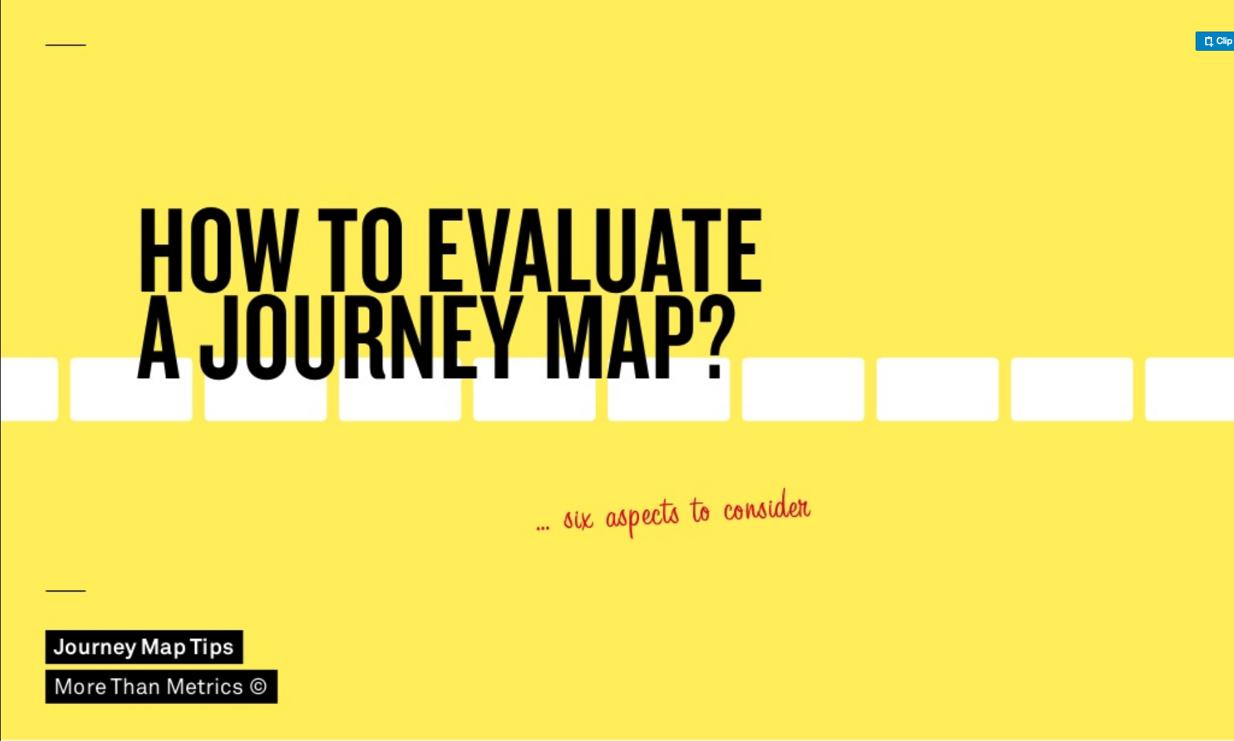 yellow background with writing: how to evaluate a journey map? ...6 aspects to consider