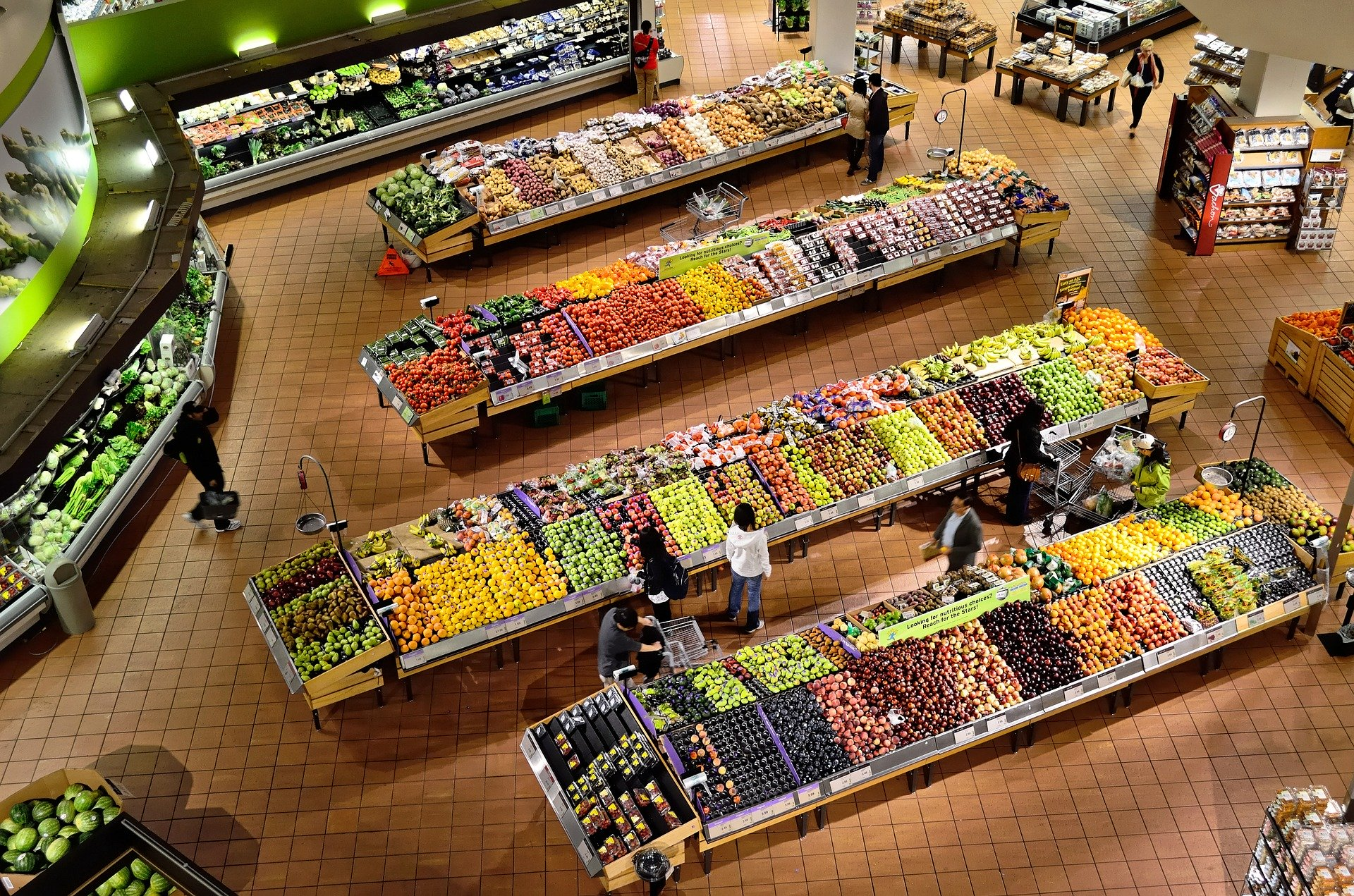 supermarket shelves from above