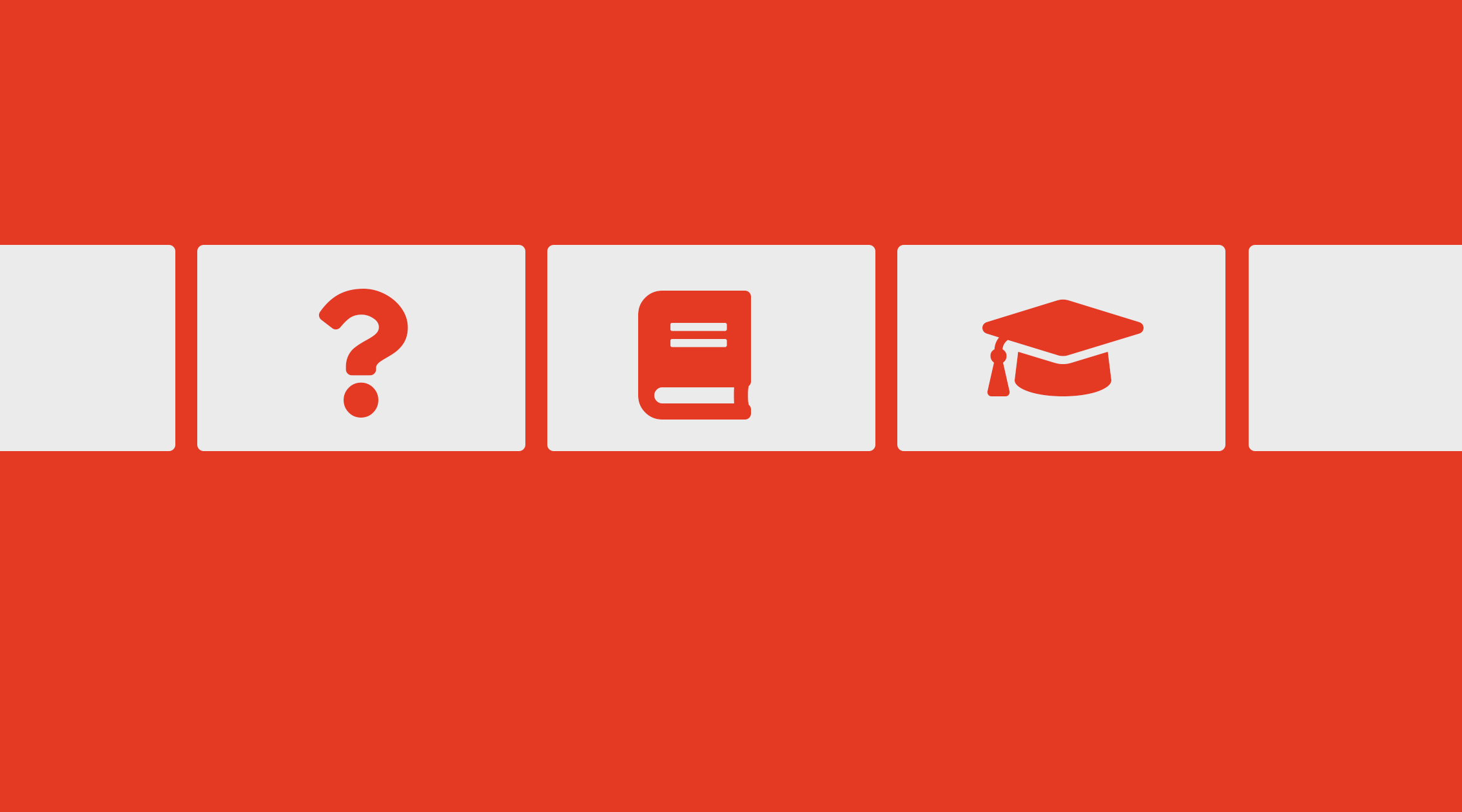 white squares on red background with a question mark, a book, and a graduation hat as symbols in them