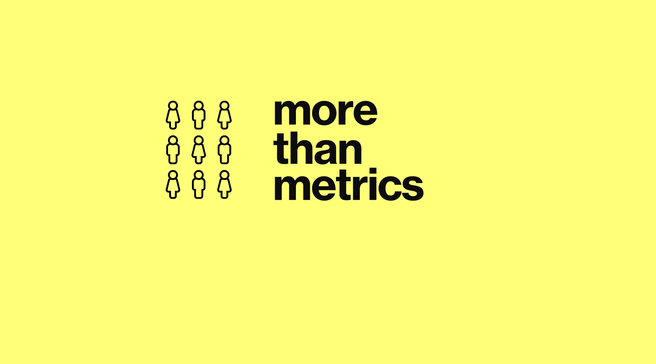icons of people and the company logo of more than metrics on a yellow background