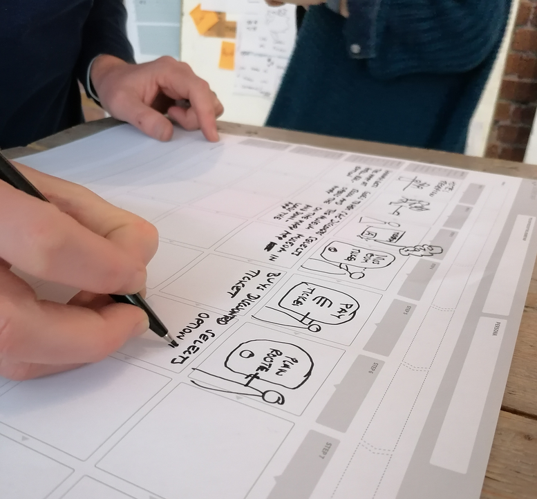 person writing and drawing on journey map template