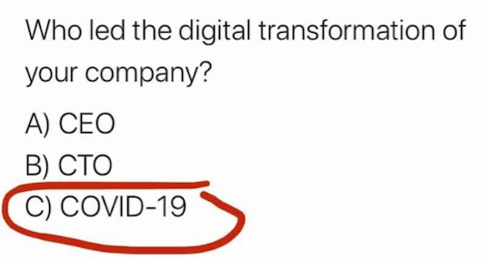 Who led the digital transformation of your company? A) CEO; B) CTO; C) Covid-19