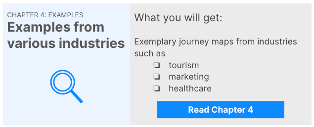 Link to Chapter 4: CJM Examples. You will get exemplary journey maps from different industries such as tourism, marketing or healthcare.