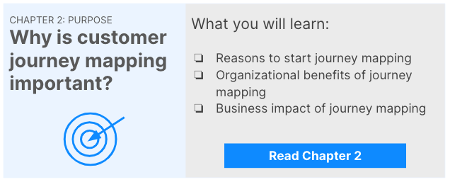 Link to chapter 2: purpose of customer journey mapping. You will learn reasons for and benefits of CJM and about the business impact of journey mapping.