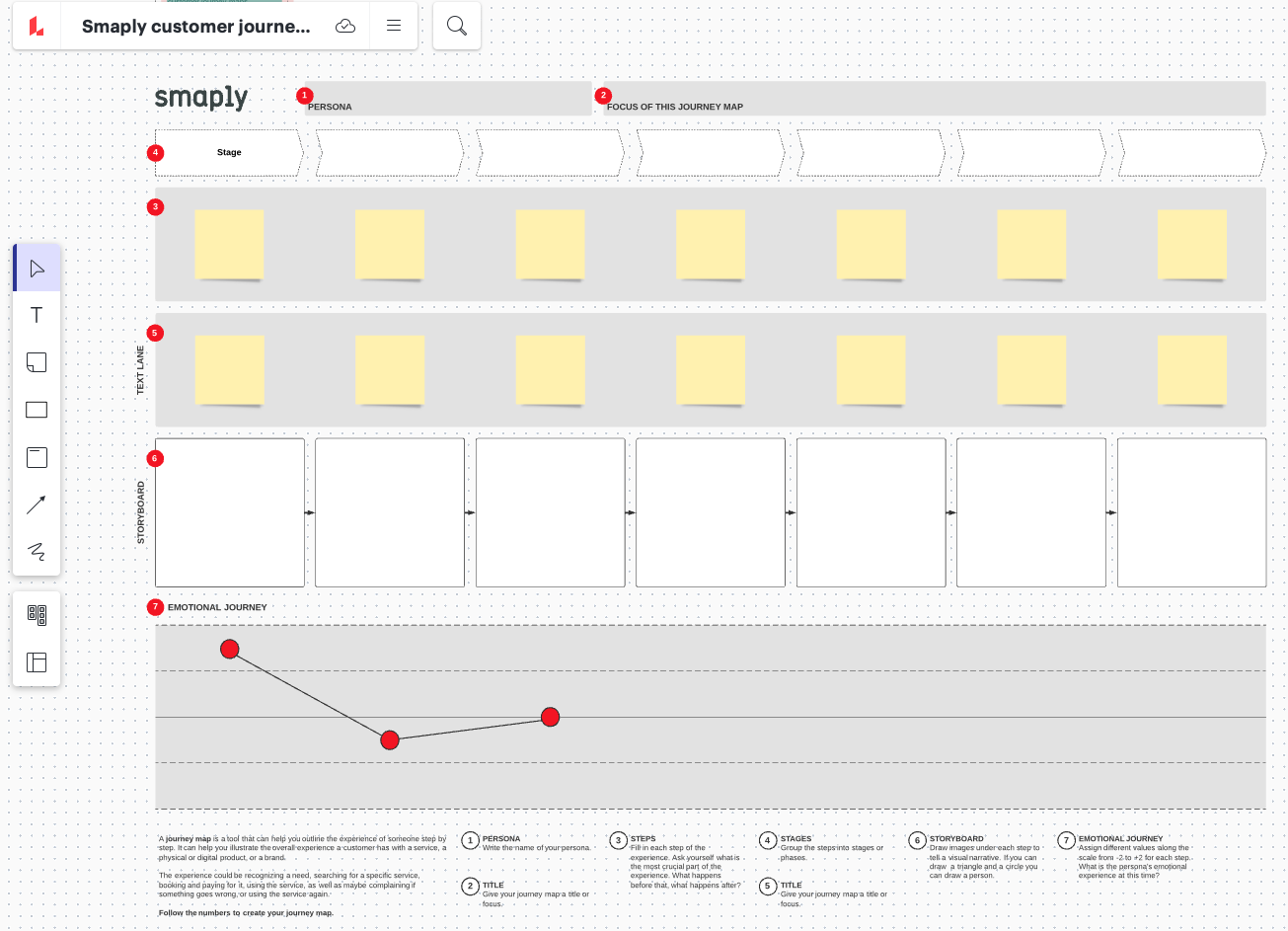 A template in Lucidchart to make it easy to import a journey map into Smaply.