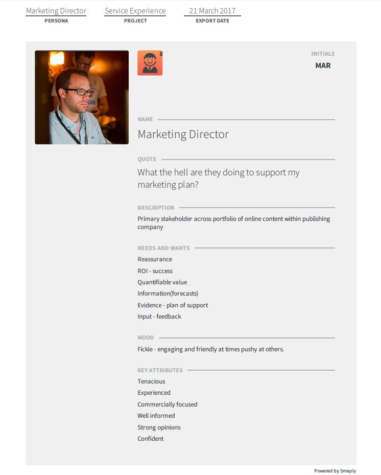 A persona created in Smaply visualizing a Marketing Director.