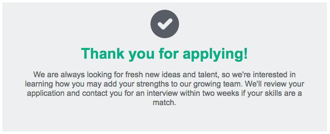 Online Job Application Thank You