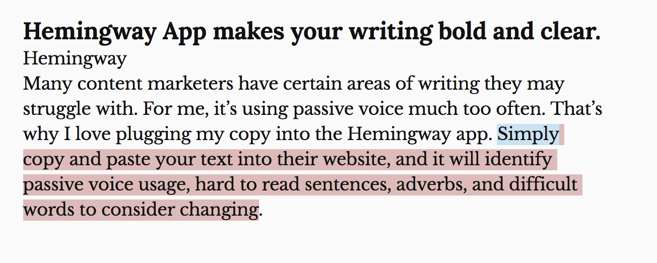 Hemingway app content marketing tool.