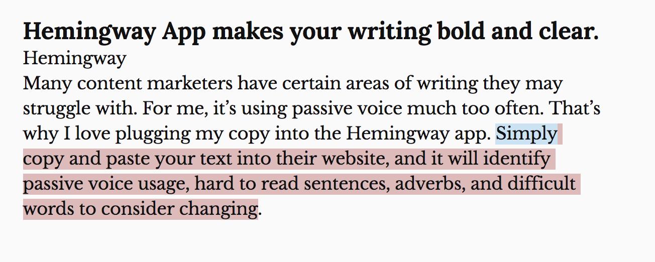 Hemingway app content marketing tool.