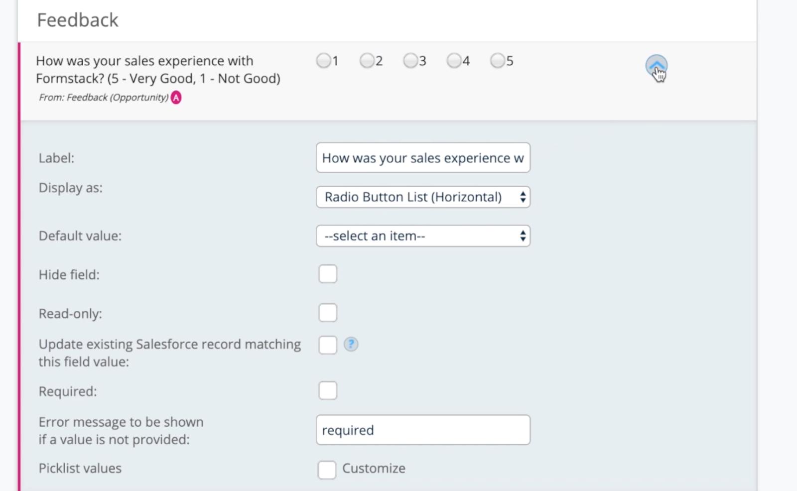 Salesforce object new feedback field.