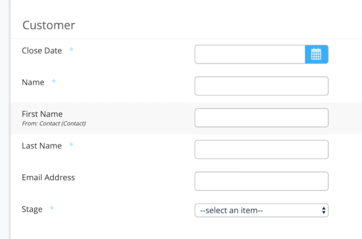 Salesforce object prefilled fields
