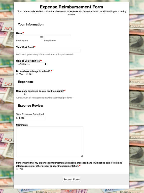 Formstack expense form