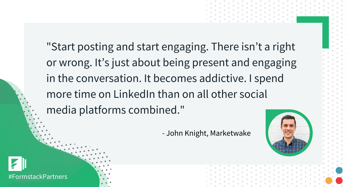 John Knight, Salesforce Lead at Marketwake discusses sharing on Linkedin.