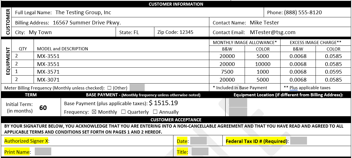 lease item product table Formstack Documents