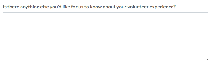 Nonprofit Volunteer Survey: Long Answer Question