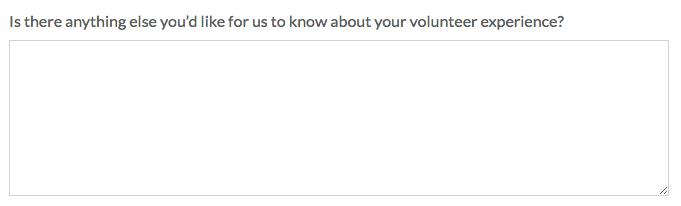 Nonprofit Volunteer Survey: Long Answer Question