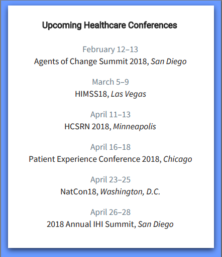 2018 healthcare events