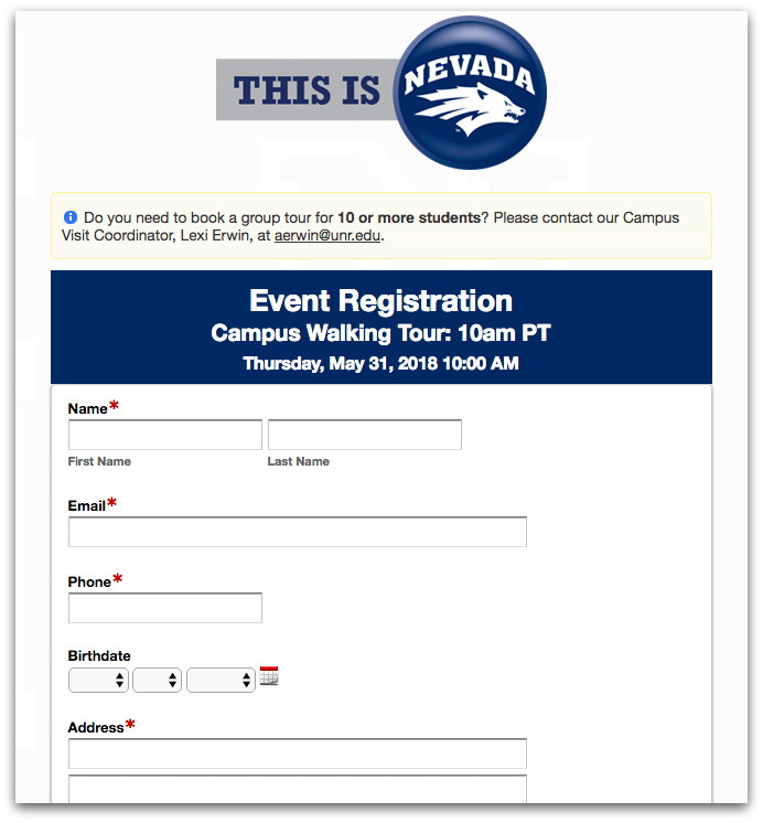 Campus Tours Sign-Up Form