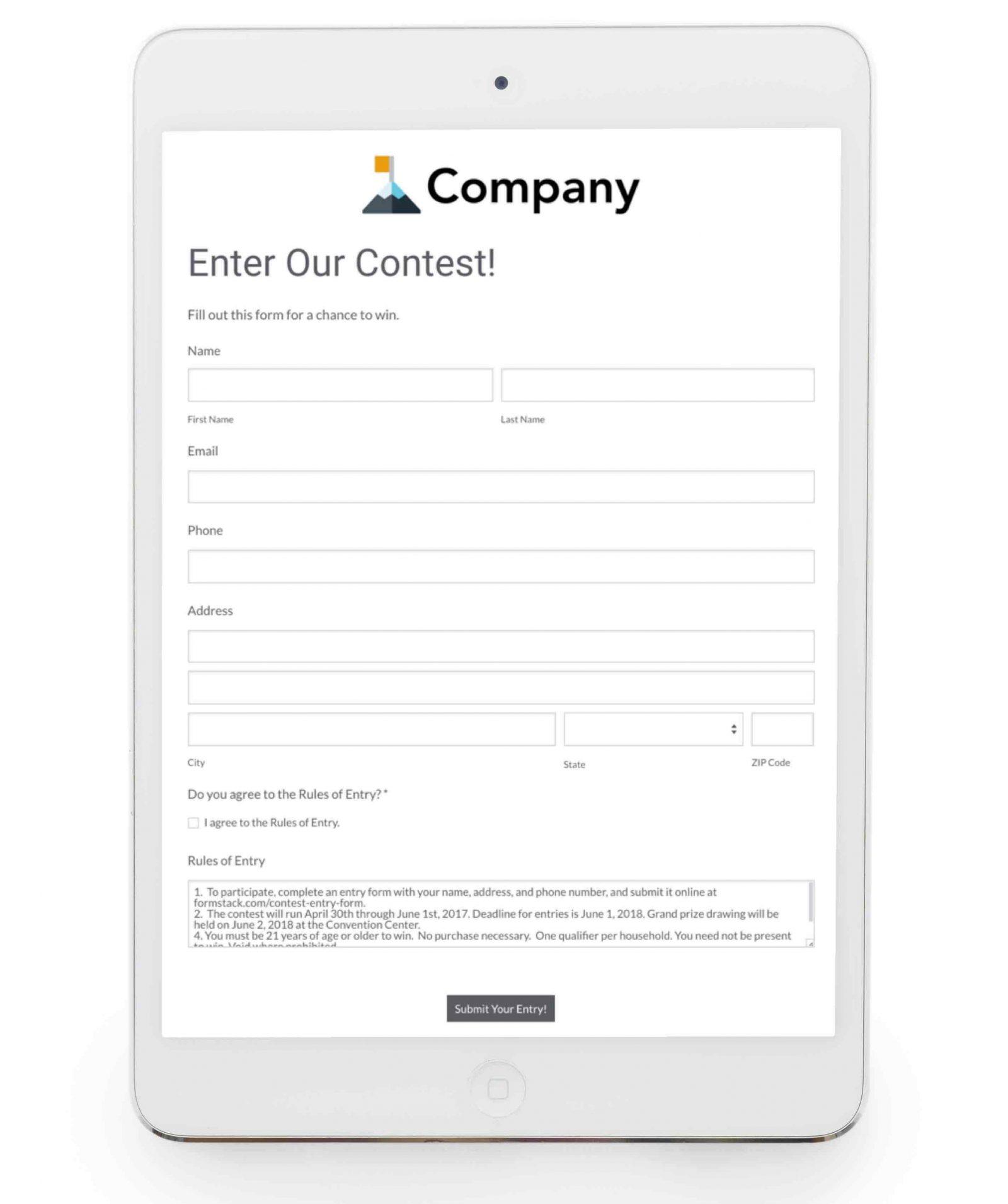 Formstack Go contest form