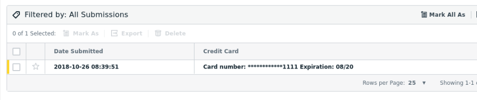 Formstack credit card field submissions