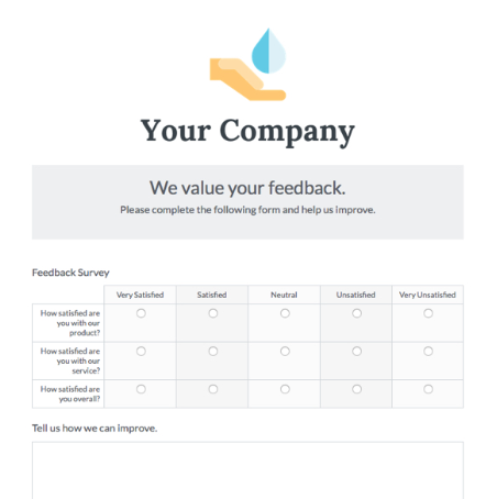 form templates customer feedback