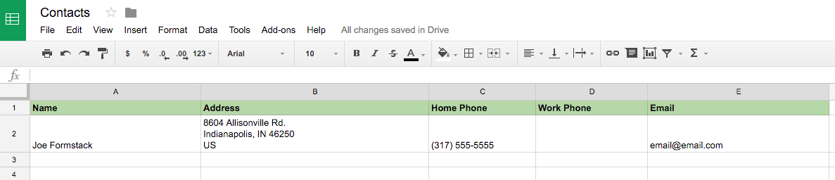 Google Sheets Data from Formstack