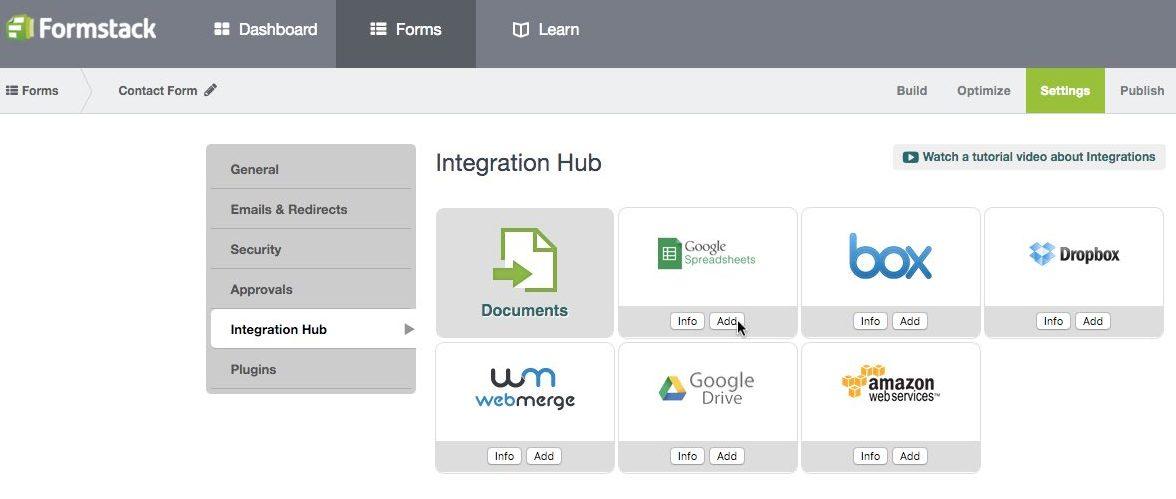 Add Formstack Google Sheets Integration