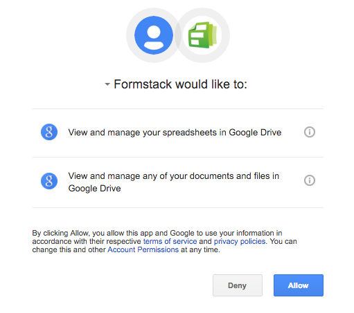 Allow Formstack to Access Your Google Account