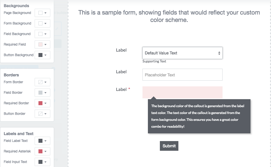 online forms theme editor