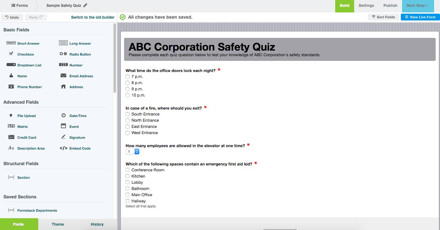 Formstack Online Quiz Maker
