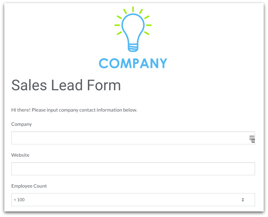 Formstack Sales Form Template