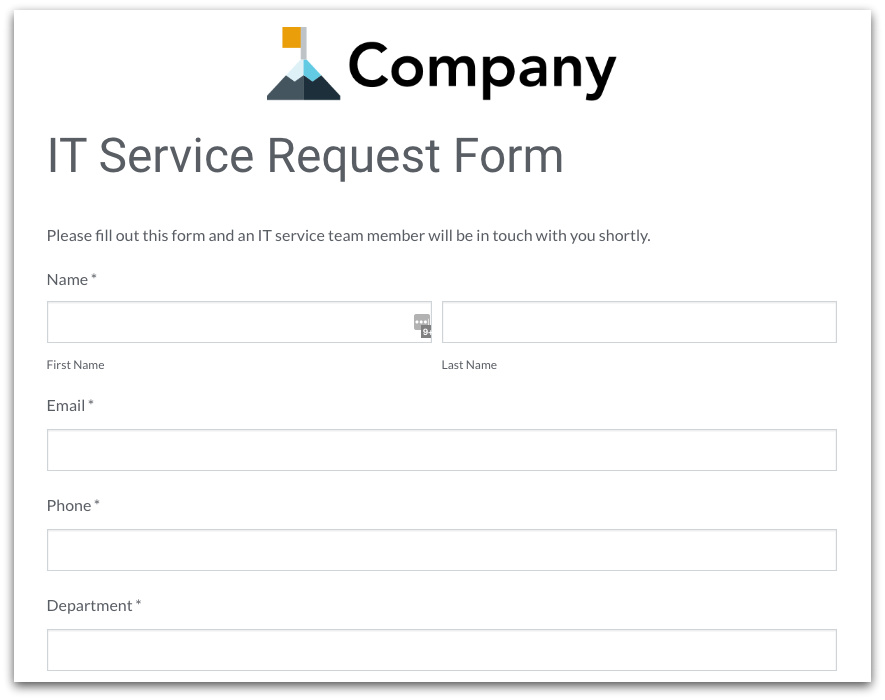 Formstack IT Service Request Form Template