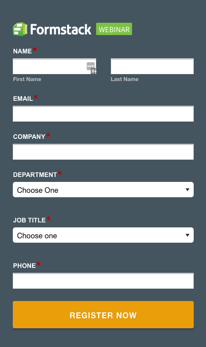 Formstack Branded Forms: Webinar Signup Example
