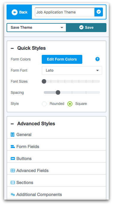 Formstack Theme Editor Options