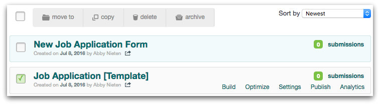 Using a Formstack Form Template