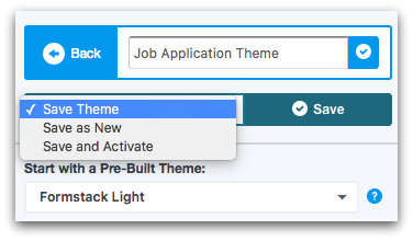 Formstack Theme Editor Save Options