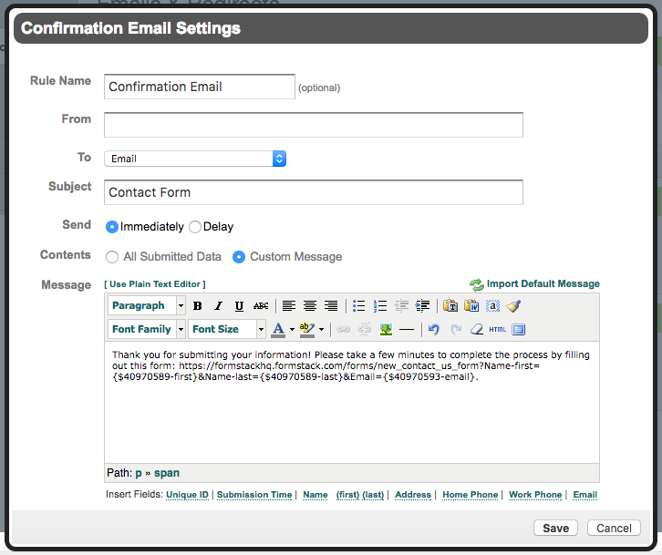 Autofill Form Fields from Confirmation Email