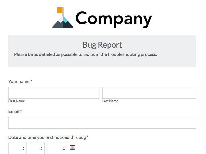 IT bug tracker request form