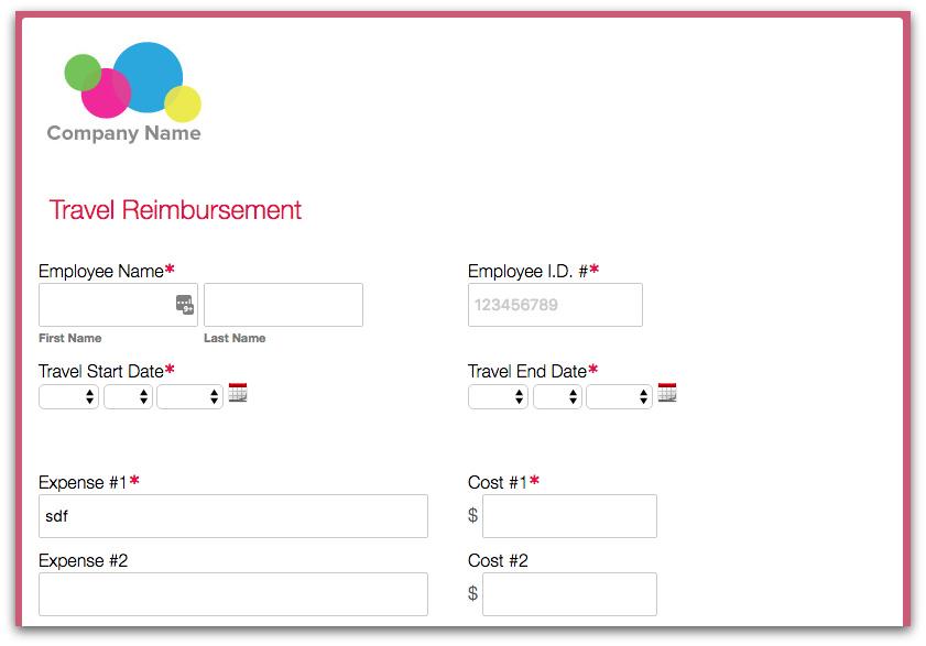 Formstack Expense Reimbursement Form