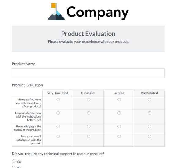 Formstack Product Evaluation Survey Template