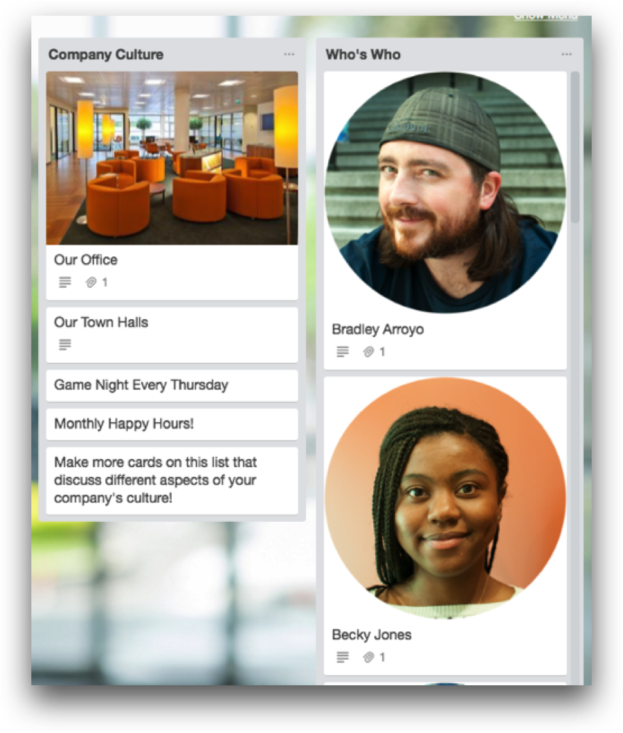Trello for Onboarding: Company Culture and People