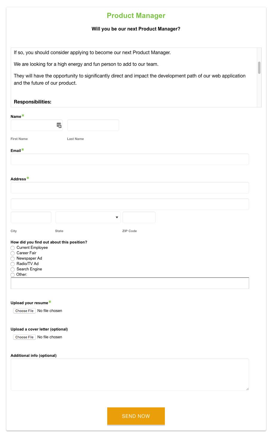 Hiring Process: Job Application