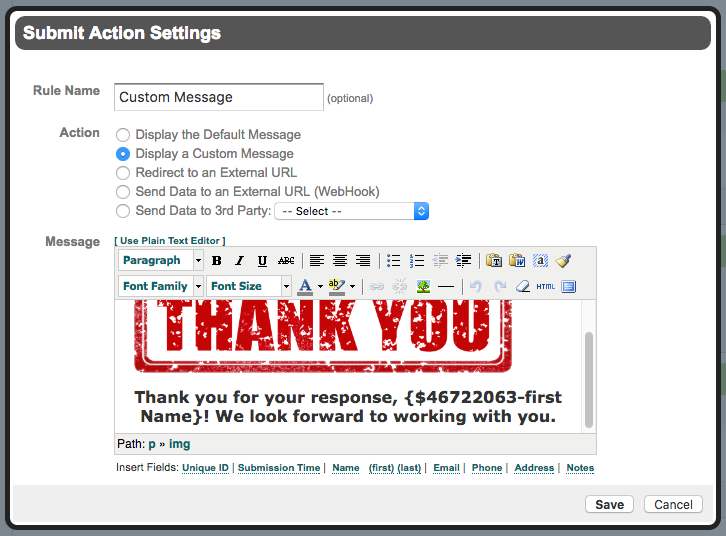 Formstack Custom Form Submit Message Settings